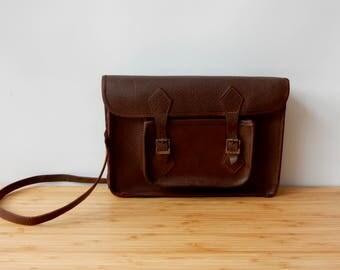 Vintage Brown Leather Satchel Briefcase  Old School Satchel Retro Vintage luggage  Organiser Case Old Briefcase