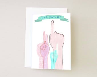 Dad, You're Number One Card, Fathers Day Greeting Card, Best Dad Card, Illustrated Cards For Dad, Quirky and Unique Handmade Cards