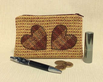 Welsh tweed zipped coin purse/change purse in yellow with dark red/brown appliqued hearts