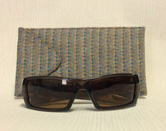 Welsh tweed wider glasses/spectacles/sunglasses case in blue/beige