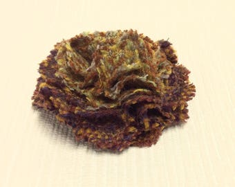 Welsh tweed flower brooch, corsage in shades of brown, tan and mustard yellow