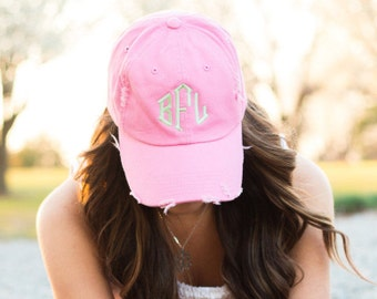 Monogrammed Ball Cap | Monogrammed Baseball Cap | Vintage Cap | Distressed Baseball Cap | Gifts under 20 | Gift for her | Monogrammed Hat