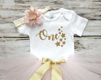Twinkle Twinkle Little Star First Birthday Outfit | Pink and Gold First Birthday Outfit | 1st Birthday | Cake Smash Outfit | Photo Prop