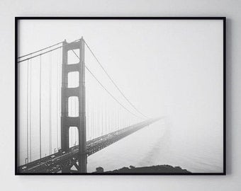 Black and White Photo, San Francisco Bridge, Bridge Photography, Wall Art Printable, Instant Download, Modern Art, Digital Print