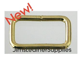 """3/4"""" wire loops 20 pack brass plated steel - also known as belt keepers 3/4"""" X 3/8"""" X 2.4mm (#51)"""