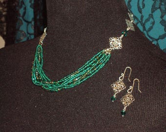 Emerald Green Beading with Square Silver Filigree Necklace & Earrings