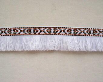 2 Yards Bohemian Fringe Trim, Fringe Ribbon, Fringe Tape,  Aztec Trim in White  Color