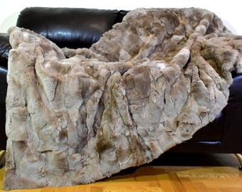 Luxury Real Brown Rex Rabbit Throw Blanket