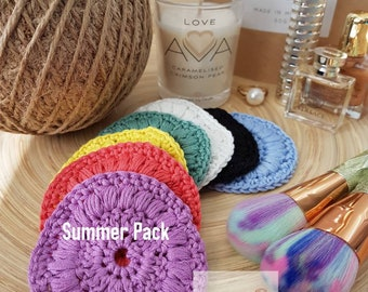 Pack of 7 | Pack of 14 | Handmade Crochet Face Scrubbies | Cotton Face Pads | Makeup Remover | Holiday Gift Guide Woman