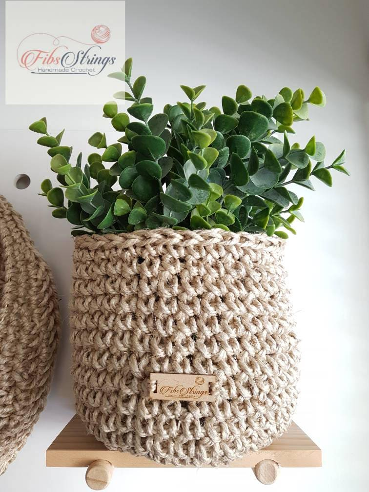 Handmade Jute Baskets : Handmade thick jute twine basket hanging hooked