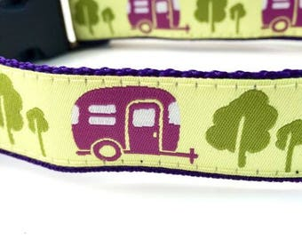 Camping Trailer Dog Collar | Camping Leash | Camping Harness | Personalized Dog Collar | Hipster Dog Collar | Camper Dog Collar