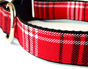 Red Plaid Dog Collar | Christmas Dog Collar | Red Plaid Leash | Red Plaid Harness | Personalized Dog Collar | Holiday Collar | Tartan Plaid