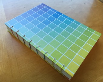 Rainbow Grid Sketchbook // Color Gradient // Coptic Stitch Journal // Handmade Hardcover Book // Notebook // Cute Gift Under 20