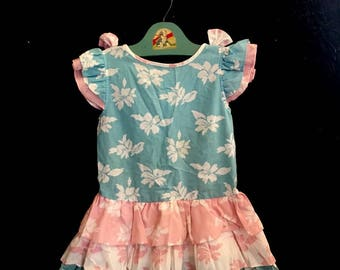 Vintage 80s Toddler Girls Ruffled Pastel Party Dress Size 4T-5