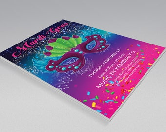 Mardi Gras Party Invitation Flyer Template | Mardi Gras poster, Mardi Gras Carnival  Flyer | MS Word & Photoshop Template | Instant download