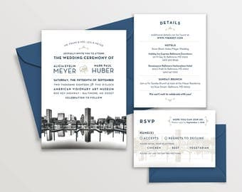 Baltimore, Maryland City Skyline 5-Piece Wedding Invitation Package