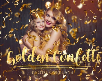 30 Golden Confetti photo overlays with transporent background