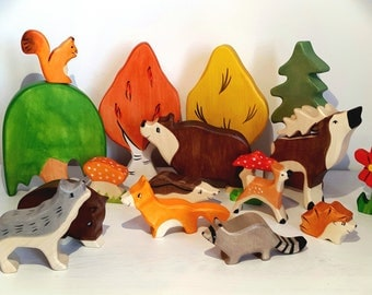Waldorf wooden toys, Wooden animals, Woodland toys, Organic toys, Play set for kids, Waldorf toys, wooden toys, Toddler toy, Forest animals