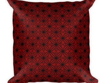 Red and Black Geometric Pattern Square Pillow