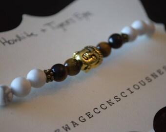 Howlite & Tigers Eye 6mm Bracelet