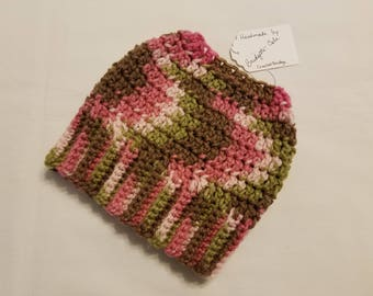 PONYTAIL HAT - Messy Bun Hat - Ponytail Hole Hat - Ponytail Beanie - Crochet Beanie - Crochet Hat - Knit Hat - Pink Camo - Ready to Ship