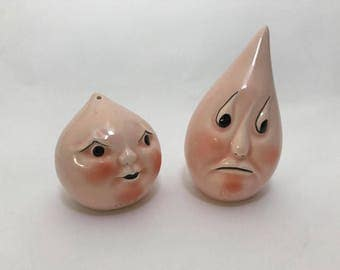 Anthropomorphic Drip and Drop Salt and Pepper-Signed Pink