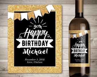 birthday wine labels etsy. Black Bedroom Furniture Sets. Home Design Ideas