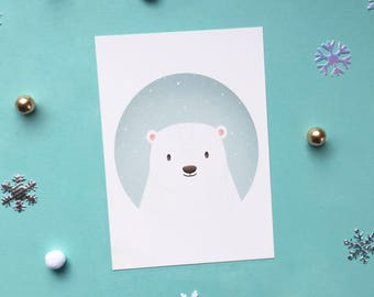 Polar Bear Print - A6 Art Print - Animal Print - Cute - Gift for Kids - Gift for Animal Lovers - Winter - Digital Print - Nature