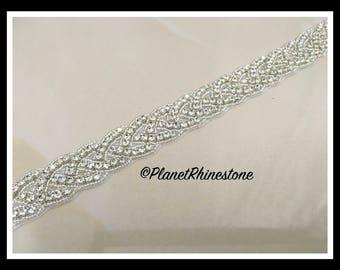 1 Yard Iron/Sew Crystal Trim/ Trim by Yard/ Braided Rhinestone Bridal Sash (Silver, Gold) #I-8