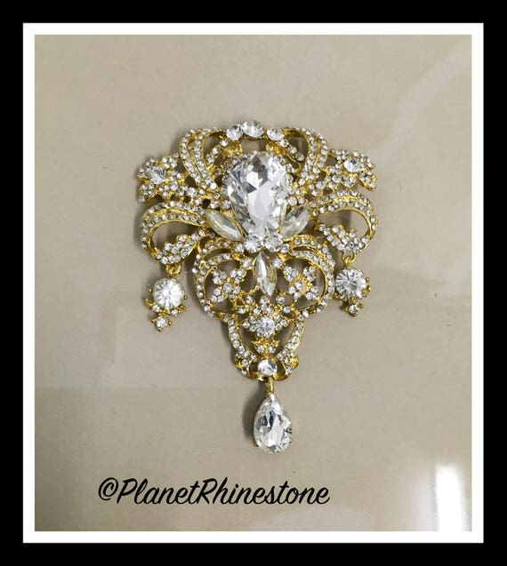 Gold Large Rhinestone Brooche #B-14