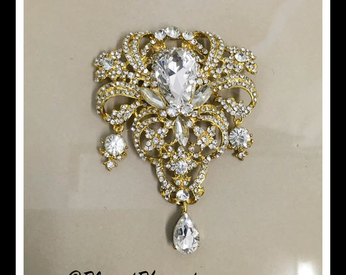 Gold Large Rhinestone Brooche #B-14