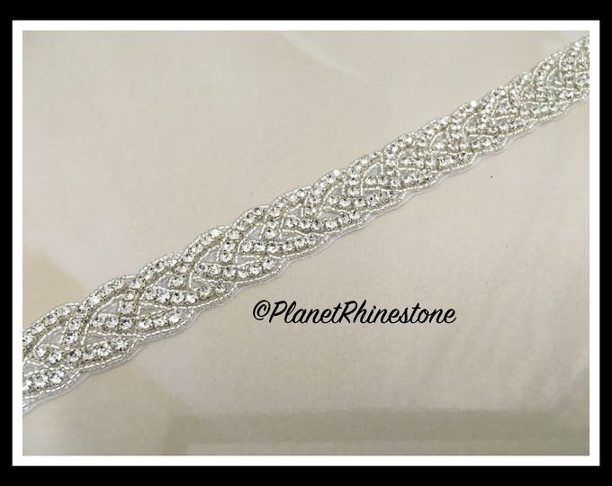 1 Yard Iron/Sew Crystal Trim/ Trim by Yard/ Braided Rhinestone Bridal Sash (Silver, Gold) #I-8