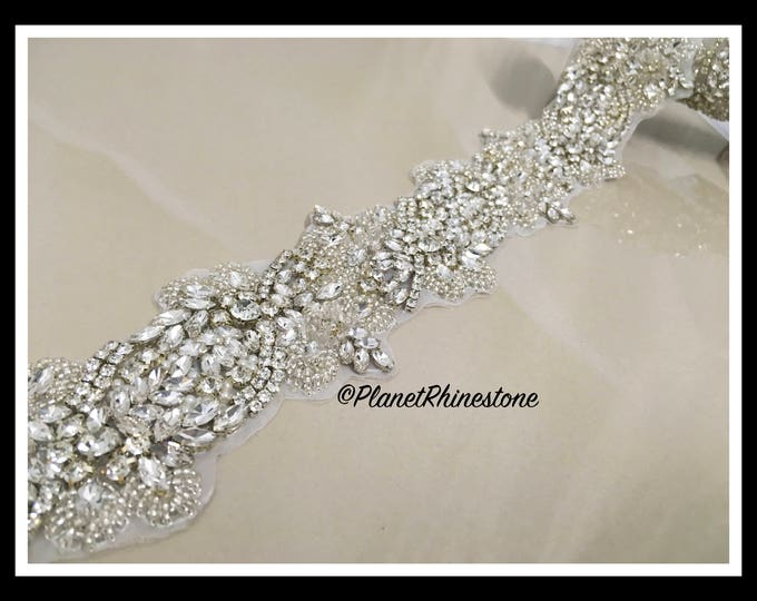 1 Yard- Beaded Rhinestone Trim (Swarovski Shine) #I-14