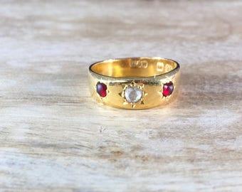 Victorian Rose Cut Diamond Garnet 22K Gold Ring