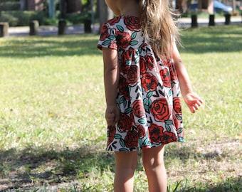 Roses Are Red Dress , baby dress, toddler dress, girl dress, valentines outfit, roses outfit, red rose dress, flower dress, party dress