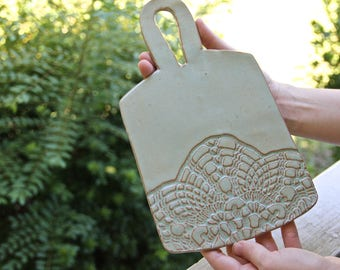 Ceramic Cheese Platter/Cutting Board, handmade pottery, lace imprint, ceramic serveware, wedding gifts, housewarming gifts, entertaining