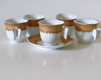 Espresso Porcelain Turkish Butterfly Handle Tea Cups and Saucers Plates--12- Pieces