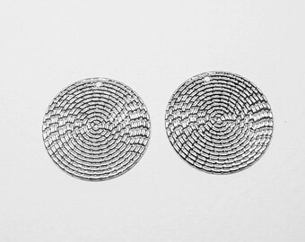 P0656-1/Anti-Tarnished Rhodium Plating Over Steel/MediumTextured  Circle Pendant/20mm/4pcs