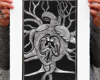 Art Burin Print, Hearts, Family, Art Print, Linocut, Hand Made, Family, El Núcleo Familiar. Unión, Couple, LOVE.