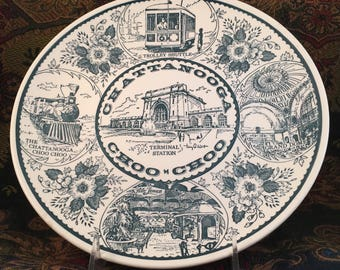 Chattanooga Choo Choo plate, wall decor by Charles Products; travel souvenir; train collectible; Artist Terry West
