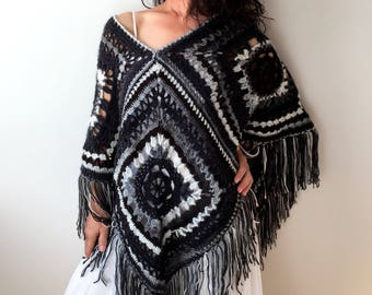 Boho poncho, black white poncho, fringed poncho, granny square poncho, bohemian hippie poncho, gift for her, fast shipping, ready to ship.