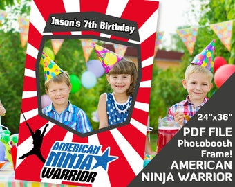 "american ninja warrior party favors photobooth props, birthday decorations, photo booth frame 24""x36"" Custom PDF file, 7th 6th birthday prop"