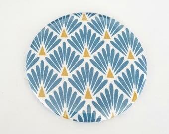 Japanese pattern 75 mm Pocket mirror blue scales