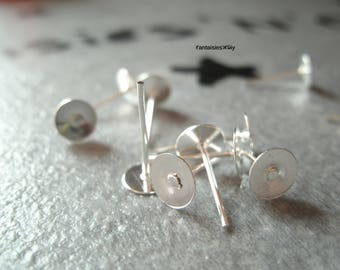 (SBO6) Set of 10 studs/posts support earring cabochon or creation fimo 6mm