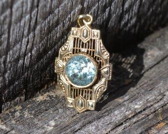Vintage Filigree Blue Zircon Pendant  10k Yellow Gold