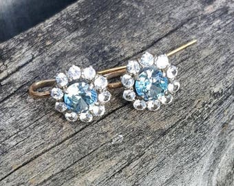 Layaway Payment #3 for acable Vintage Blue & White Zircon Dangle Earrings