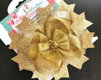 Gold glitter sparkling hair bow-over the top gold hair bow-gold boutique hair bow-gold headband-birthday gold glitter bow-large gold bows