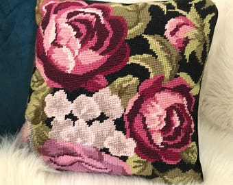 Rose needlepoint pillow with black background / Floral needlepoint pillow / flower throw pillow