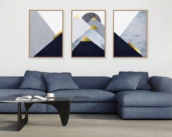 Trending Now Art, Set of 3 Prints, Print Set, Downloadable Prints, Mountains, Navy, Gold, Dark Blue, Scandinavian Art, Minimalist Poster