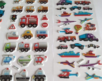 5 SHEETS Trucks and Airplanes Stickers , Pop up stickers, Puffy Stickers, Cool Stickers, Cute Stickers, Funny Stickers, Cartoon Stickers,